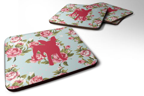 Buy this Set of 4 Chihuahua Shabby Chic Blue Roses Foam Coasters