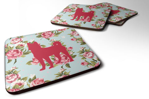 Buy this Set of 4 Basenji Shabby Chic Blue Roses Foam Coasters