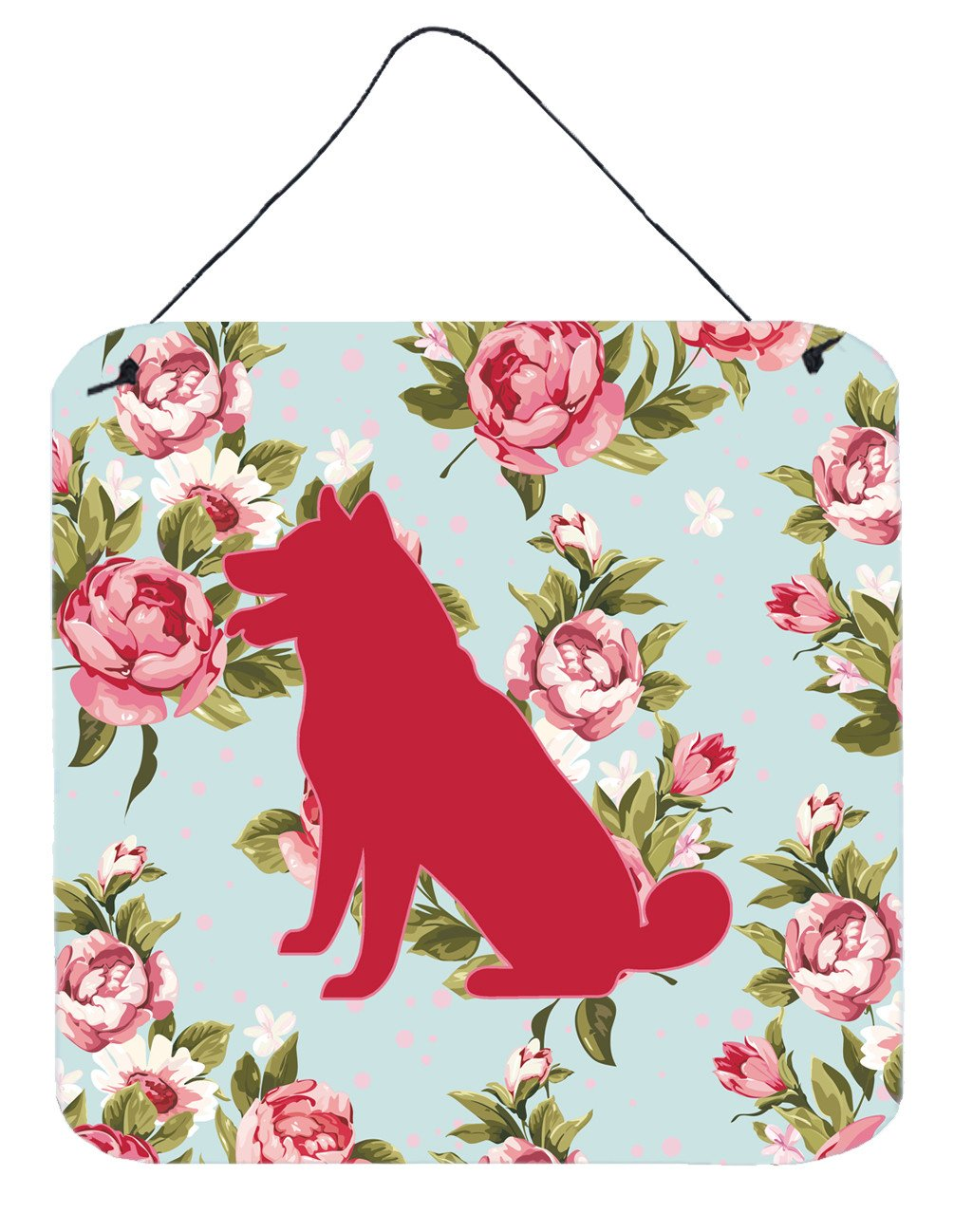 Shiba Inu Shabby Chic Blue Roses Wall or Door Hanging Prints BB1113 by Caroline's Treasures