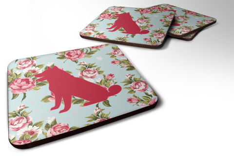 Buy this Set of 4 Shiba Inu Shabby Chic Blue Roses Foam Coasters