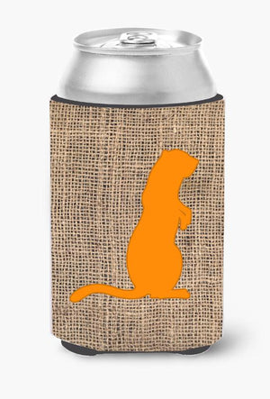 Buy this Meerkat Burlap and Orange Can or Bottle Beverage Insulator Hugger