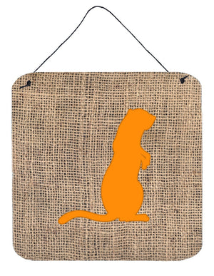 Buy this Meerkat Burlap and Orange Aluminium Metal Wall or Door Hanging Prints BB1118