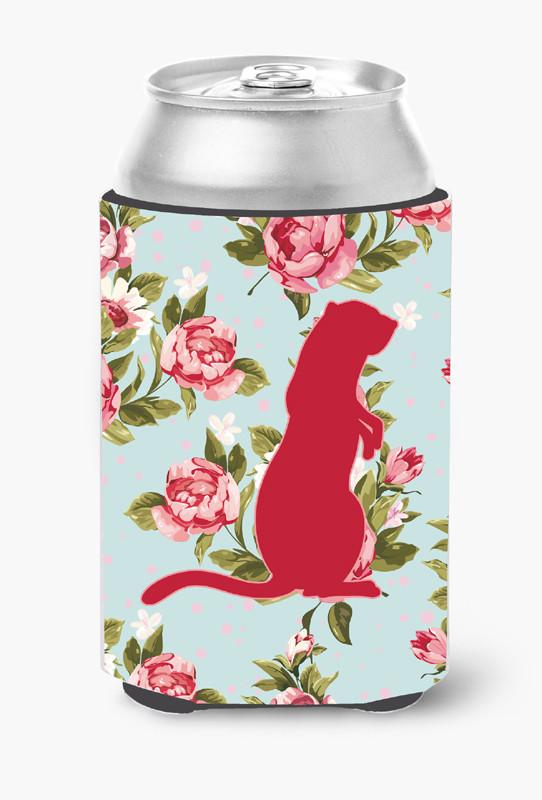 Buy this Meerkat Shabby Chic Blue Roses Can or Bottle Beverage Insulator Hugger BB1118