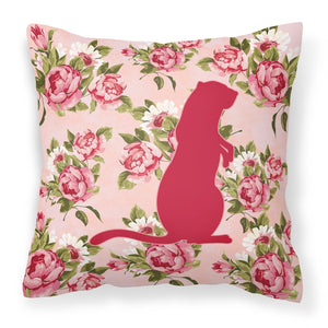 Buy this Meerkat Shabby Chic Pink Roses  Fabric Decorative Pillow BB1118-RS-PK-PW1414