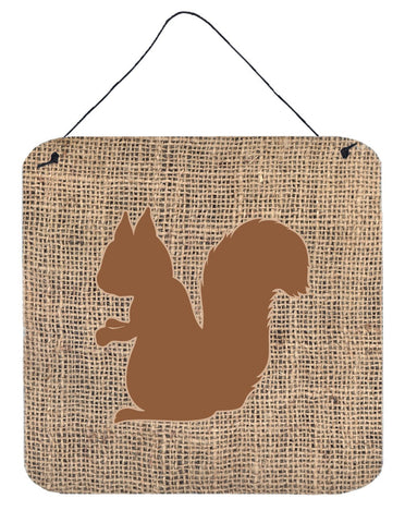 Buy this Squirrel Burlap and Brown Aluminium Metal Wall or Door Hanging Prints BB1119