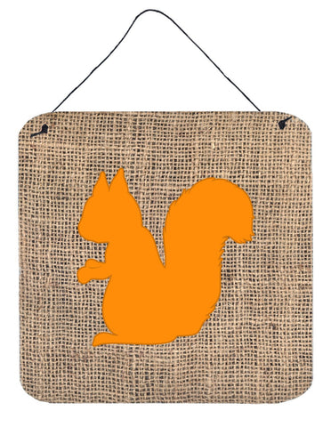 Buy this Squirrel Burlap and Orange Aluminium Metal Wall or Door Hanging Prints BB1119