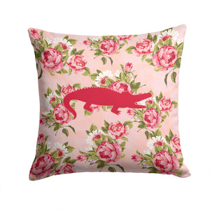 Buy this Alligator Shabby Chic Pink Roses  Fabric Decorative Pillow BB1120-RS-PK-PW1414