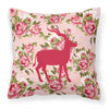 Deer Shabby Chic Pink Roses  Fabric Decorative Pillow BB1121-RS-PK-PW1414 - the-store.com