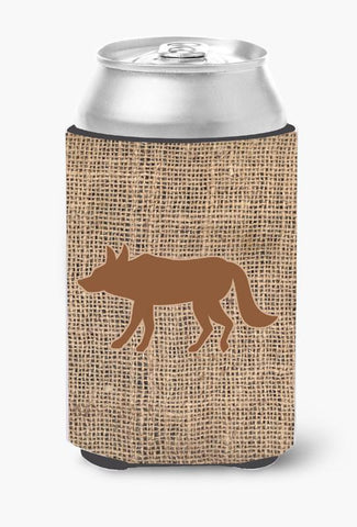 Buy this Wolf Burlap and Brown Can or Bottle Beverage Insulator Hugger