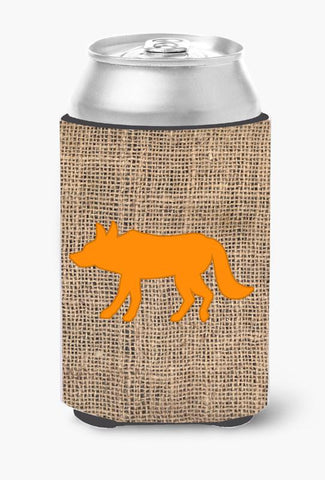 Buy this Wolf Burlap and Orange Can or Bottle Beverage Insulator Hugger