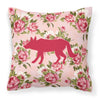 Wolf Shabby Chic Pink Roses  Fabric Decorative Pillow BB1123-RS-PK-PW1414 - the-store.com