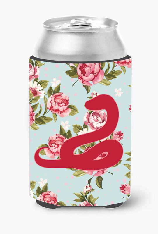 Buy this Snake Shabby Chic Blue Roses Can or Bottle Beverage Insulator Hugger BB1124