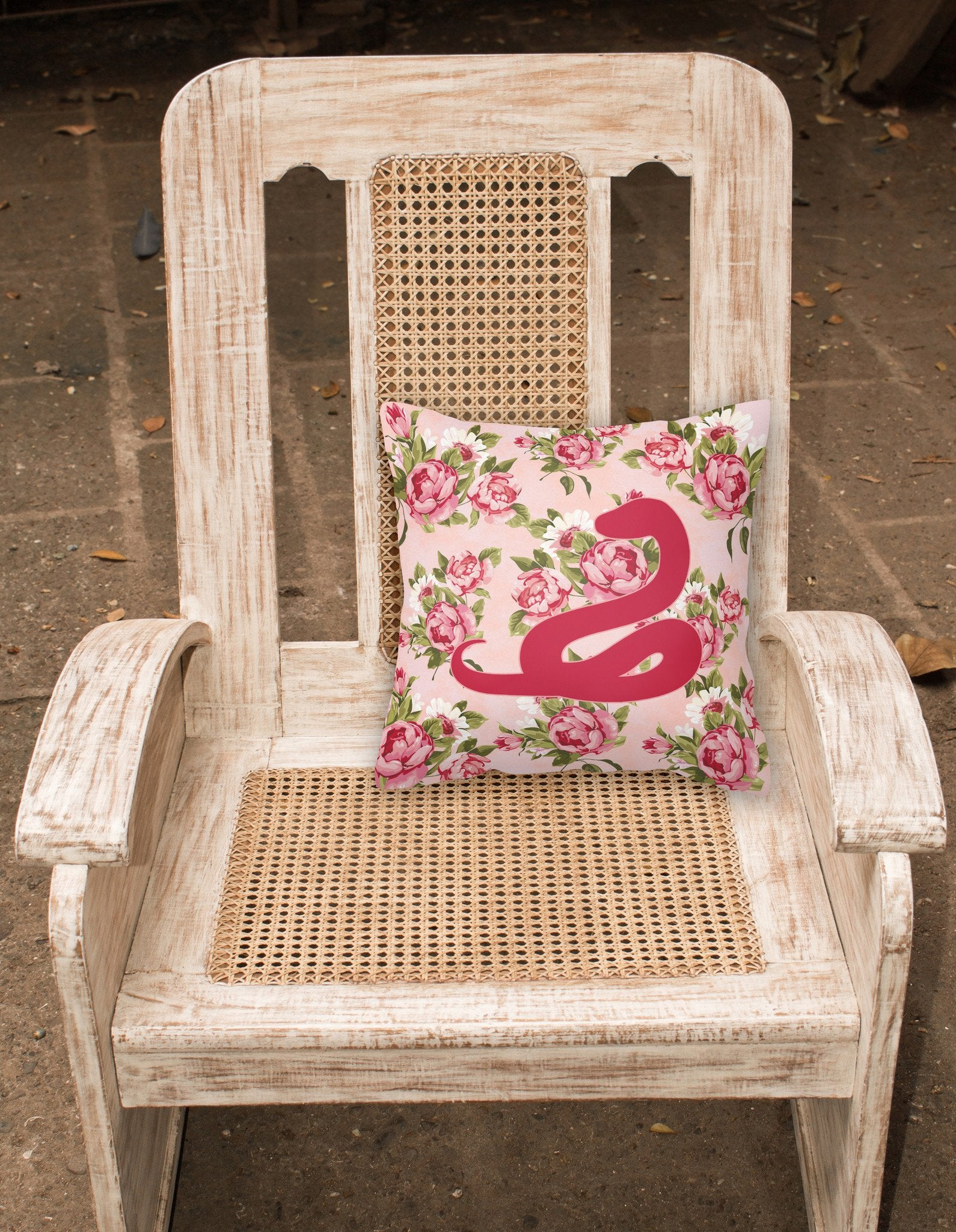Snake Shabby Chic Pink Roses  Fabric Decorative Pillow BB1124-RS-PK-PW1414 by Caroline's Treasures