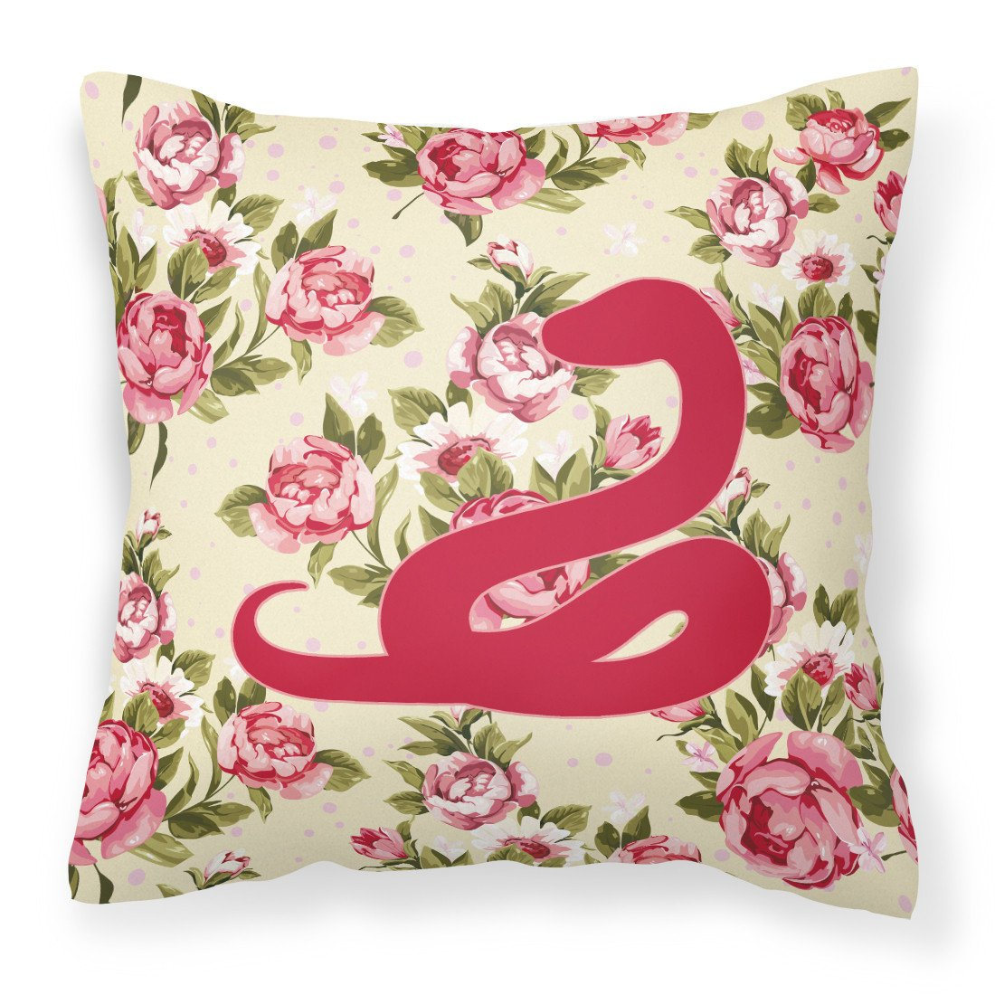 Snake Shabby Chic Yellow Roses  Fabric Decorative Pillow BB1124-RS-YW-PW1414 - the-store.com