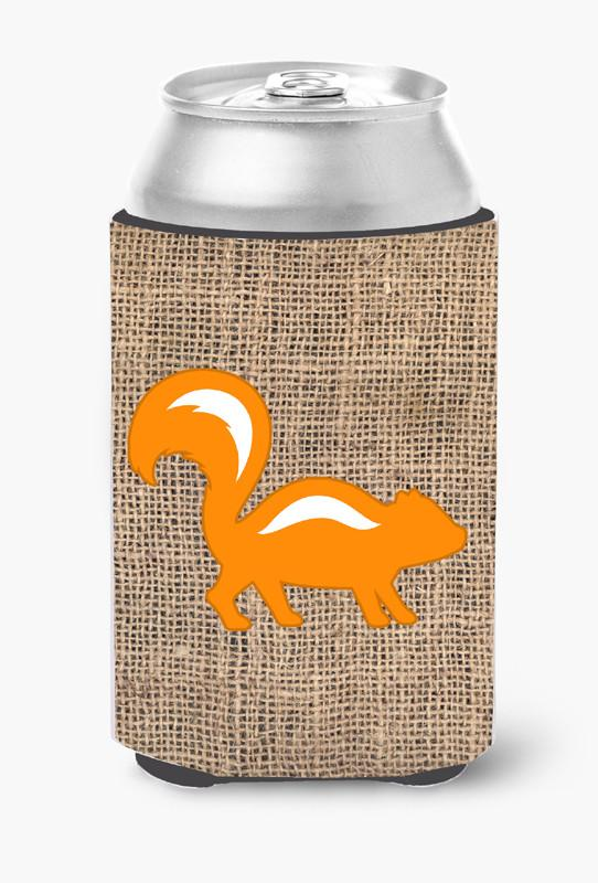 Buy this Skunk Burlap and Orange Can or Bottle Beverage Insulator Hugger