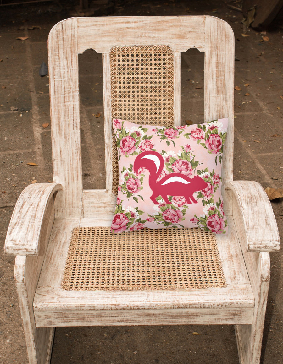 Buy this Skunk Shabby Chic Pink Roses  Fabric Decorative Pillow BB1125-RS-PK-PW1414