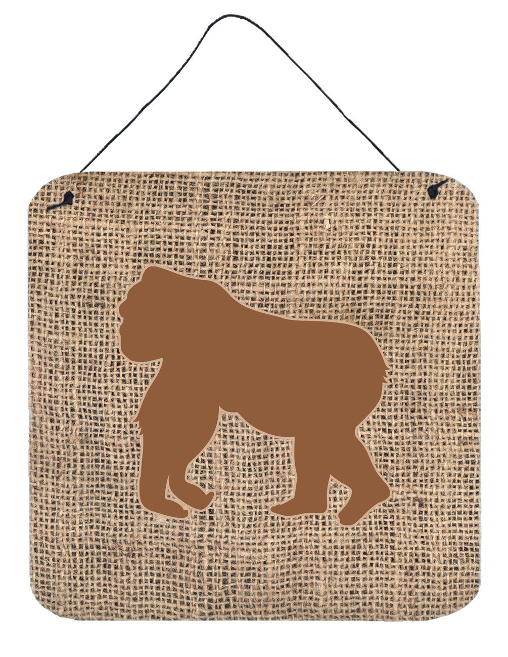 Gorilla Burlap and Brown Aluminium Metal Wall or Door Hanging Prints BB1129 by Caroline's Treasures