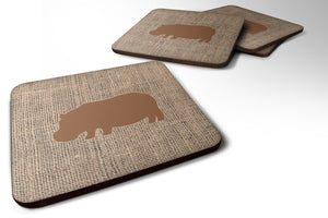 Buy this Set of 4 Hippopotamus Burlap and Brown Foam Coasters