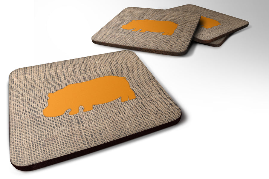 Buy this Set of 4 Hippopotamus Burlap and Orange Foam Coasters