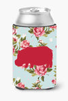 Buy this Hippopotamus Shabby Chic Blue Roses Can or Bottle Beverage Insulator Hugger BB1130