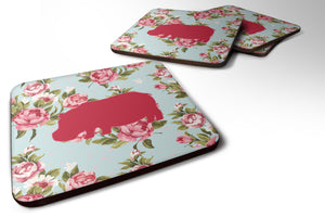 Buy this Set of 4 Hippopotamus Shabby Chic Blue Roses Foam Coasters