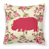 Hippopotamus Shabby Chic Yellow Roses  Fabric Decorative Pillow BB1130-RS-YW-PW1414 - the-store.com