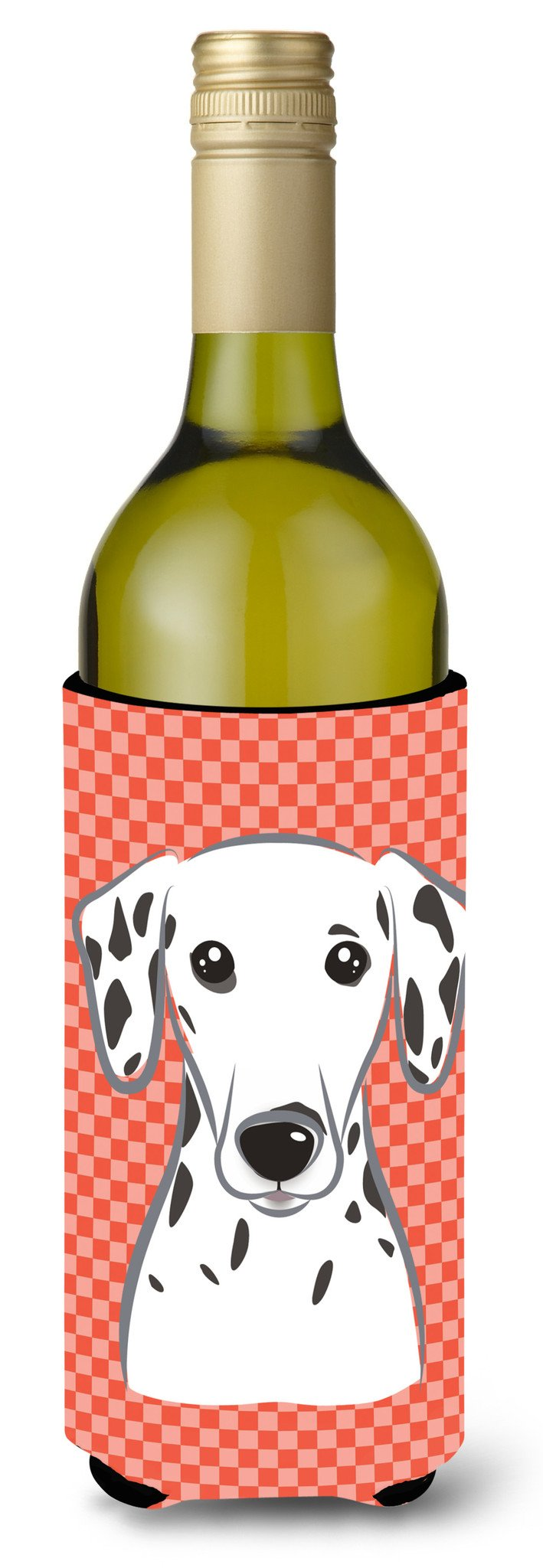 Red Checkered Dalmatian Wine Bottle Beverage Insulator Hugger BB1131LITERK by Caroline's Treasures