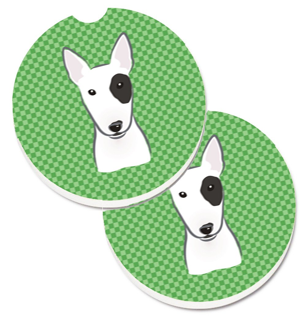 Buy this Green Checkered Bull Terrier Set of 2 Cup Holder Car Coasters BB1132CARC
