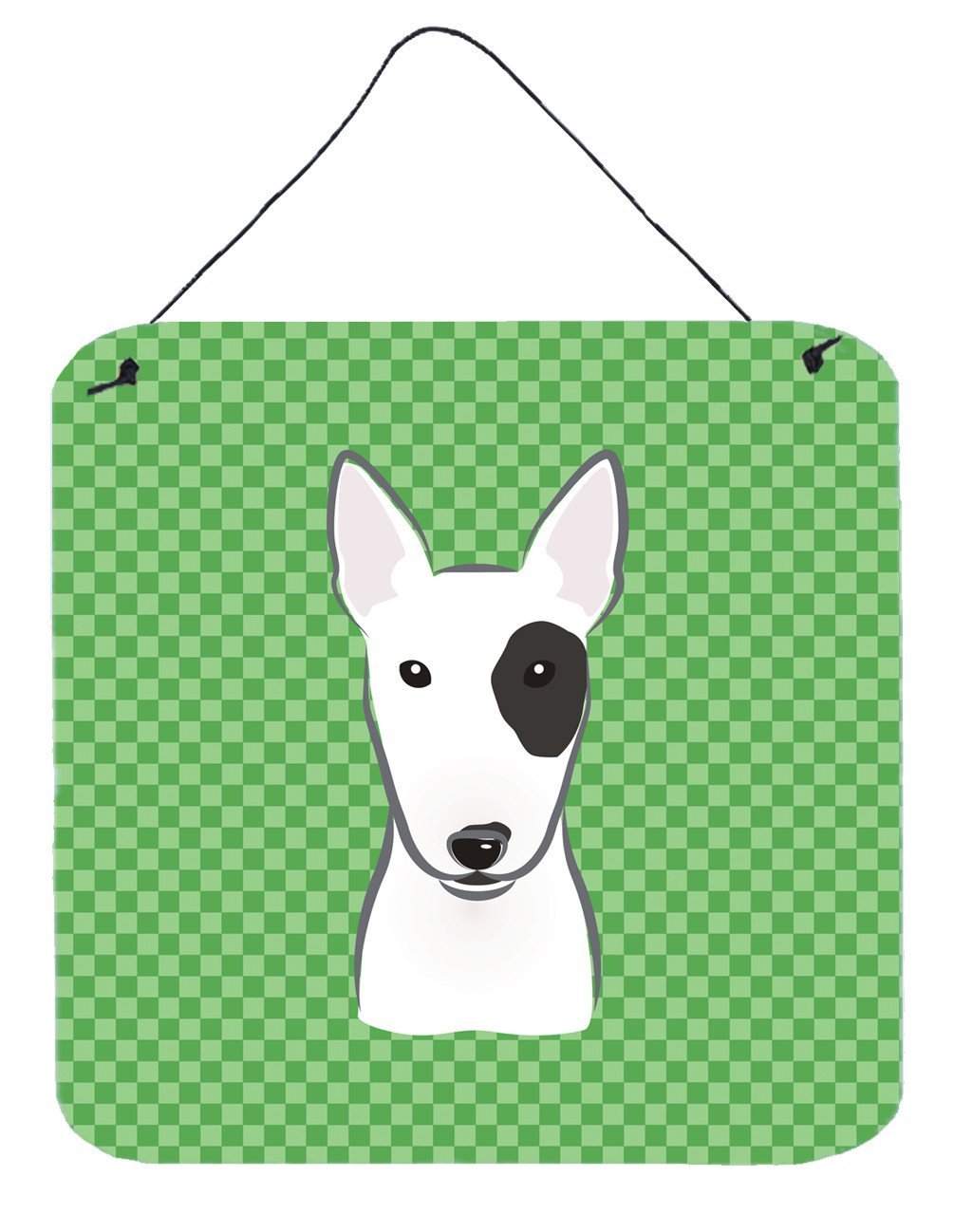 Buy this Green Checkered Bull Terrier Wall or Door Hanging Prints BB1132DS66
