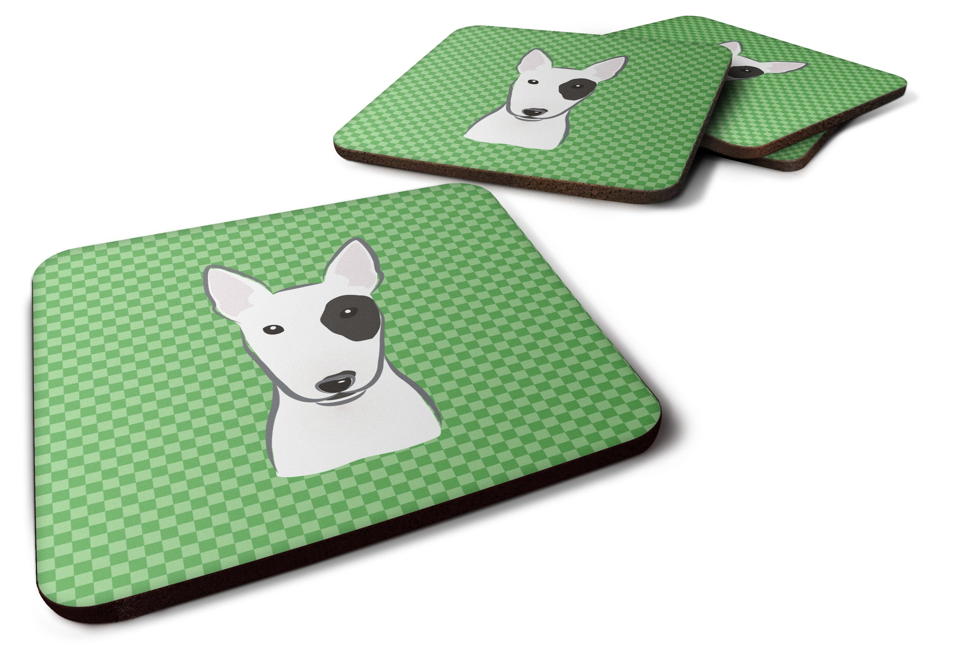 Set of 4 Green Checkered Bull Terrier Foam CoastersBB1132FC by Caroline's Treasures