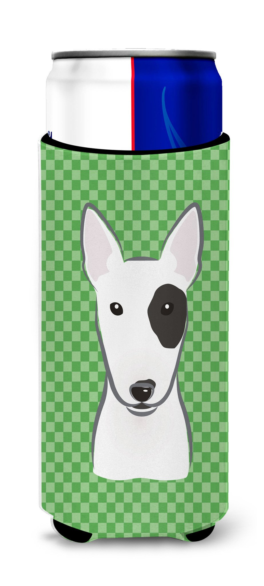 Buy this Green Checkered Bull Terrier Ultra Beverage Insulators for slim cans BB1132MUK