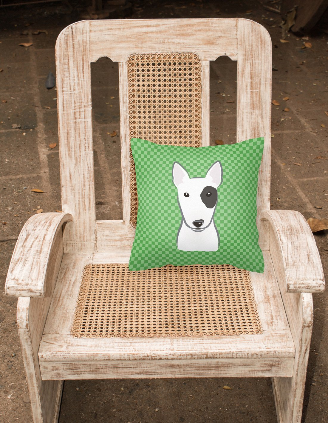 Green Checkered Bull Terrier   Canvas Fabric Decorative Pillow BB1132PW1414 - the-store.com