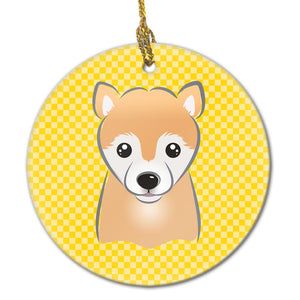 Buy this Yellow Checkered Shiba Inu Ceramic Ornament BB1133CO1