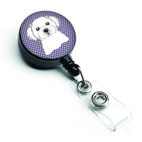 Buy this Purple Checkered Maltese Retractable Badge Reel BB1134BR