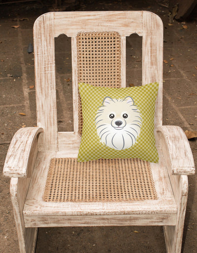 Tan Checkered Pomeranian   Canvas Fabric Decorative Pillow BB1135PW1414