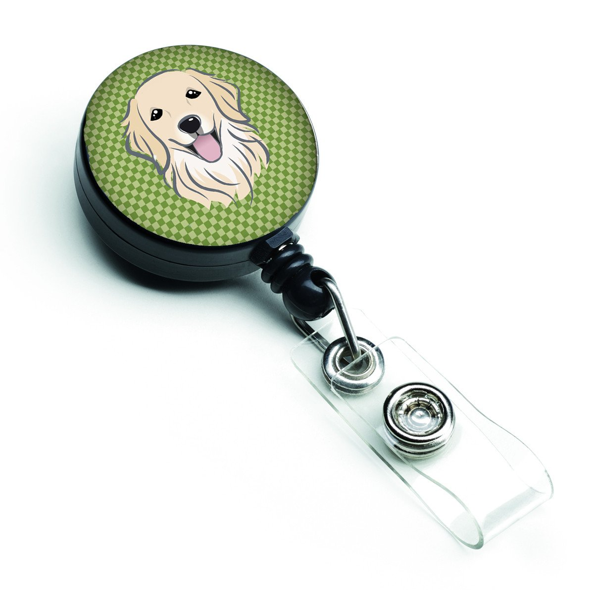 Buy this Green Checkered Golden Retriever Retractable Badge Reel BB1137BR