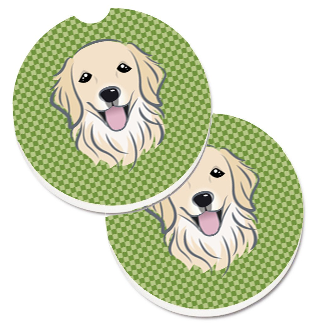 Buy this Green Checkered Golden Retriever Set of 2 Cup Holder Car Coasters BB1137CARC