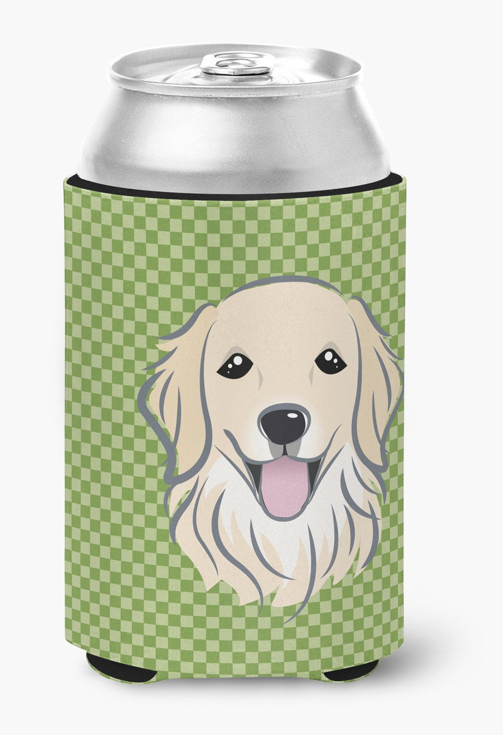 Buy this Green Checkered Golden Retriever Can or Bottle Hugger BB1137CC