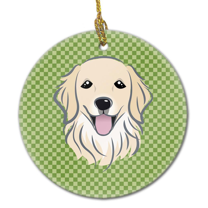 Buy this Green Checkered Golden Retriever Ceramic Ornament BB1137CO1