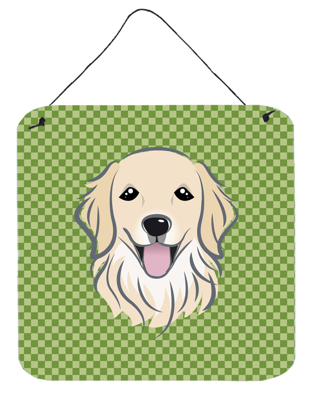 Buy this Green Checkered Golden Retriever Wall or Door Hanging Prints BB1137DS66