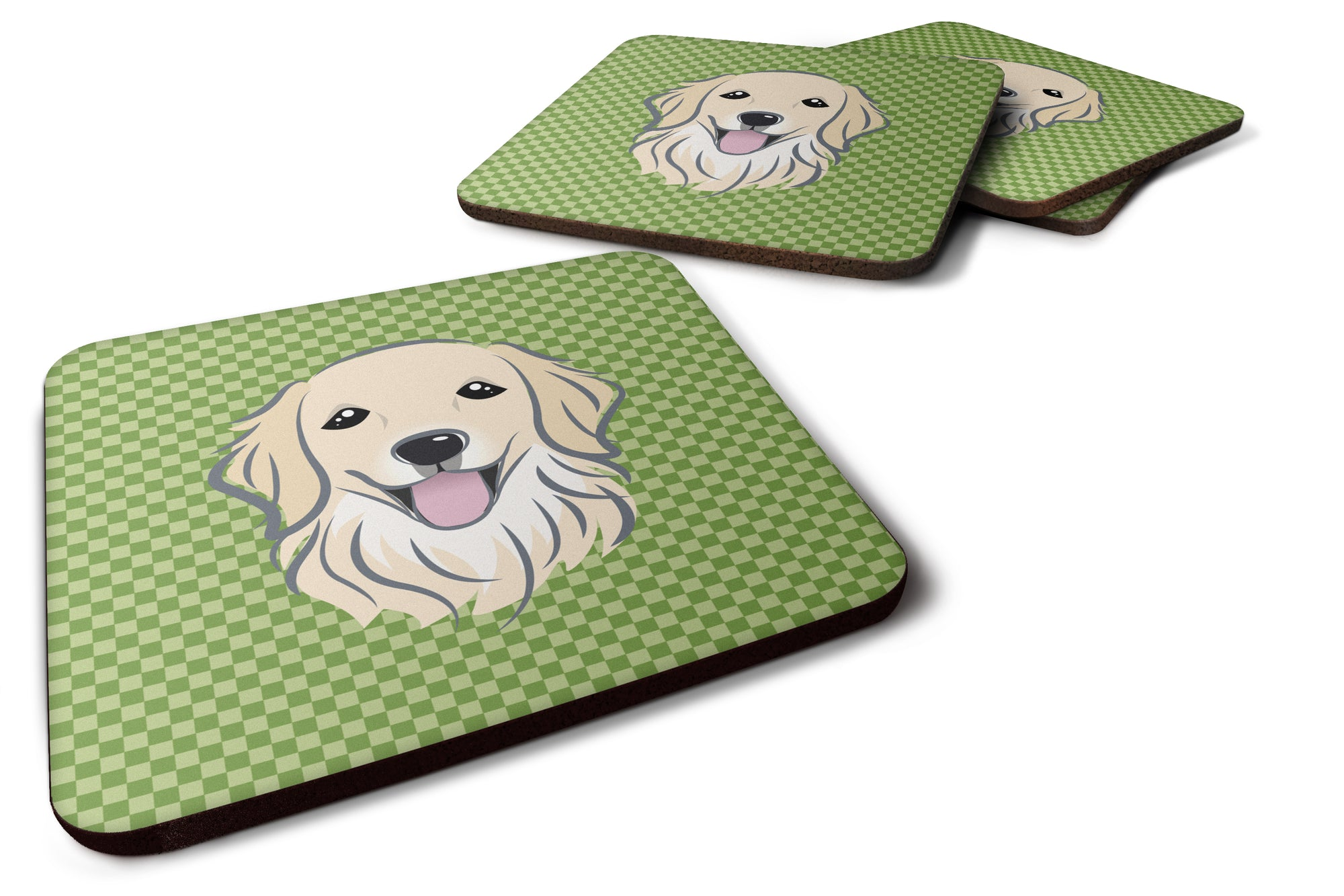 Buy this Set of 4 Green Checkered Golden Retriever Foam Coasters BB1137FC