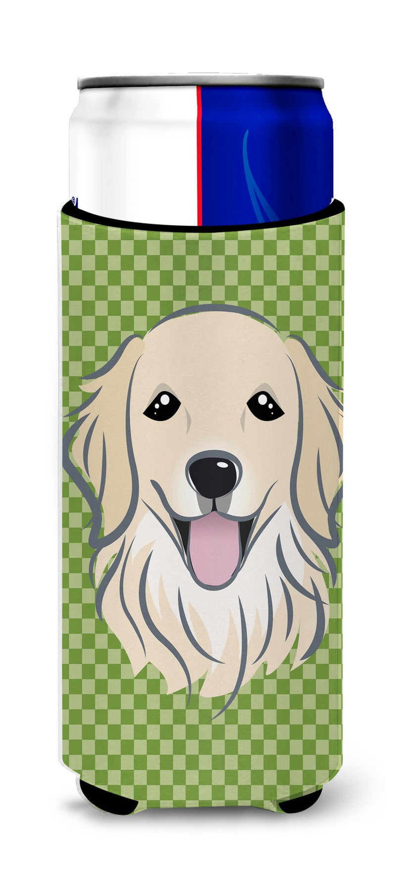 Buy this Green Checkered Golden Retriever Ultra Beverage Insulators for slim cans BB1137MUK