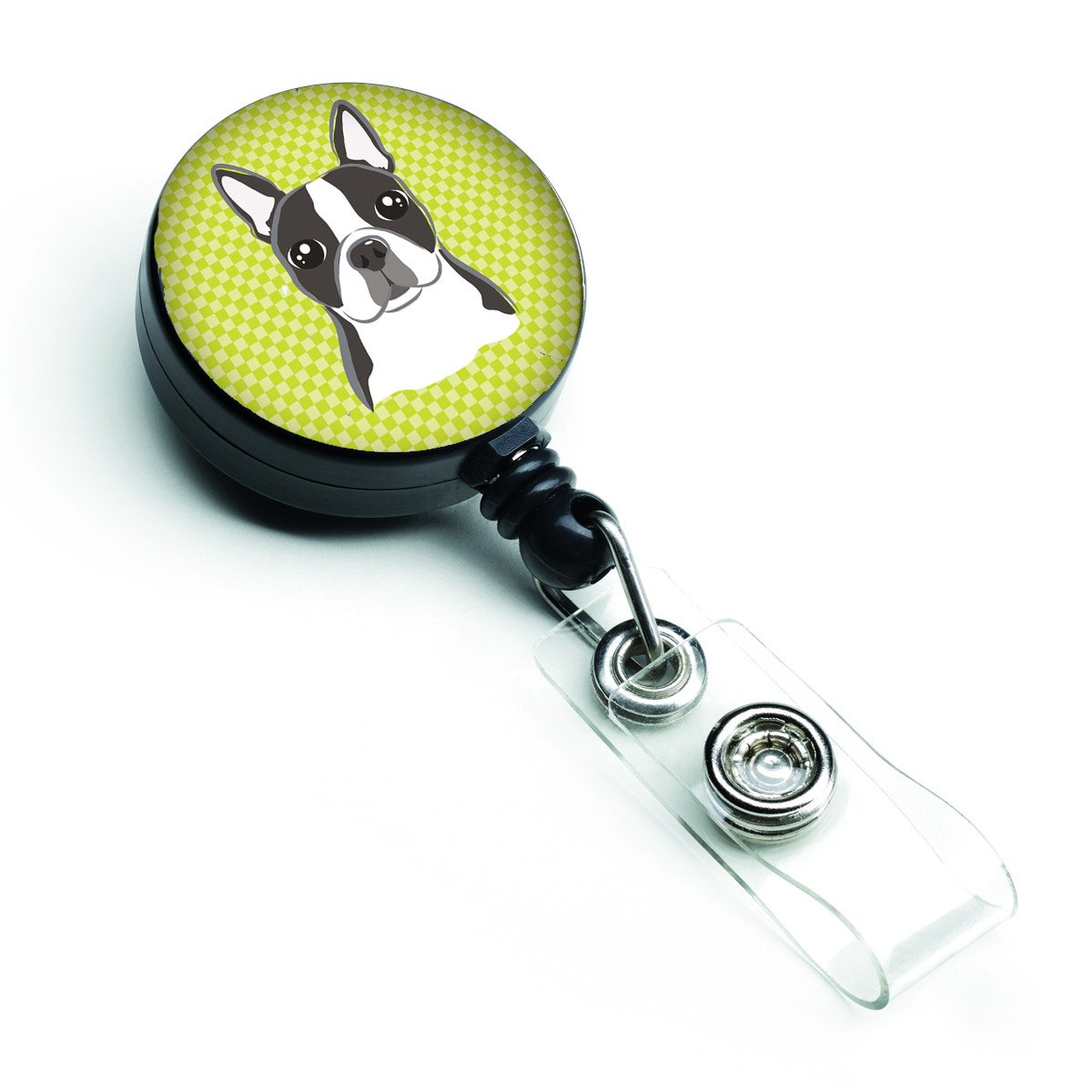 Lime Checkered Boston Terrier Retractable Badge Reel BB1139BR by Caroline's Treasures