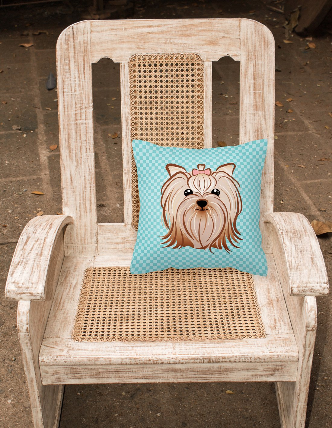 Checkerboard Blue Yorkie Yorkshire Terrier Canvas Fabric Decorative Pillow BB1142PW1414 - the-store.com