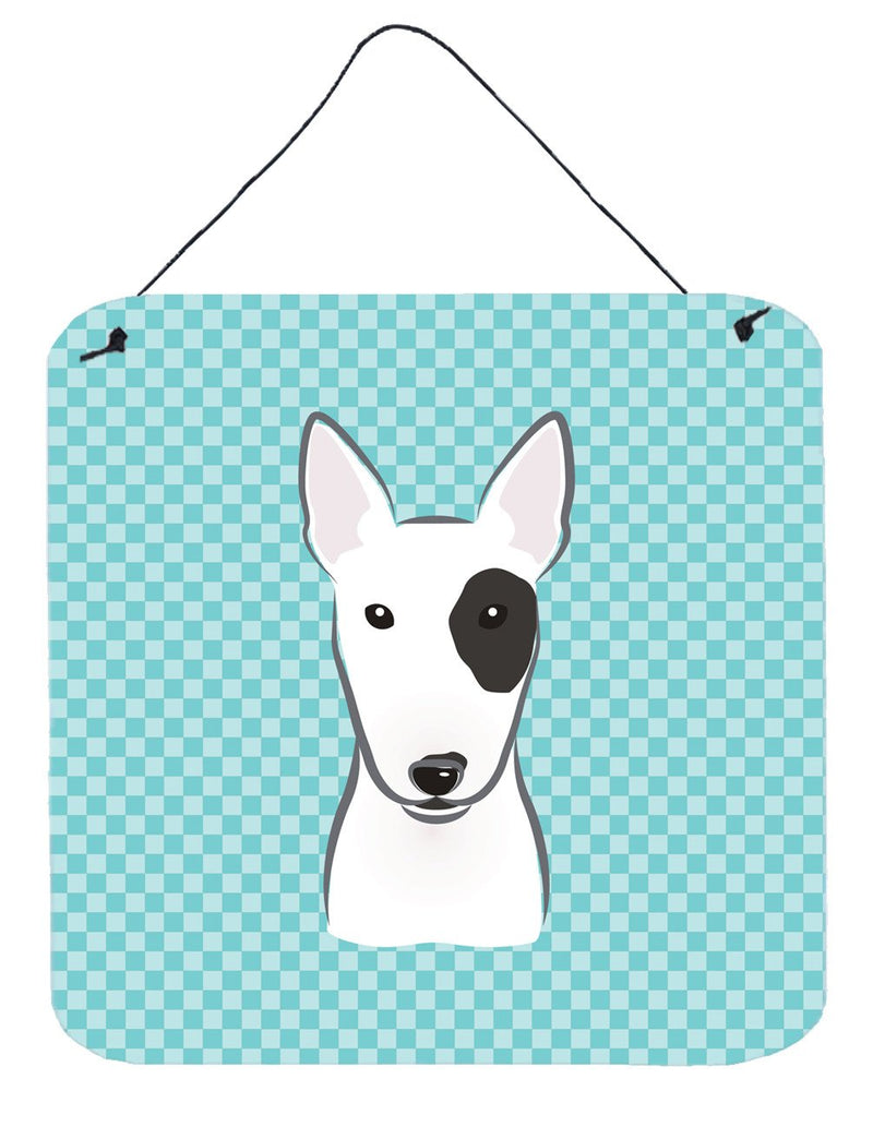 Checkerboard Blue Bull Terrier Wall or Door Hanging Prints BB1147DS66 - the-store.com