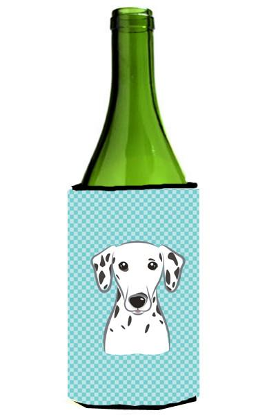 Checkerboard Blue Dalmatian Wine Bottle Beverage Insulator Hugger BB1148LITERK by Caroline's Treasures