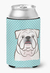 Checkerboard Blue White English Bulldog  Can or Bottle Hugger BB1158CC - the-store.com
