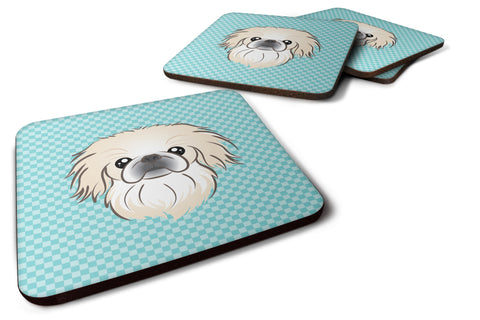 Buy this Set of 4 Checkerboard Blue Pekingese Foam Coasters BB1159FC