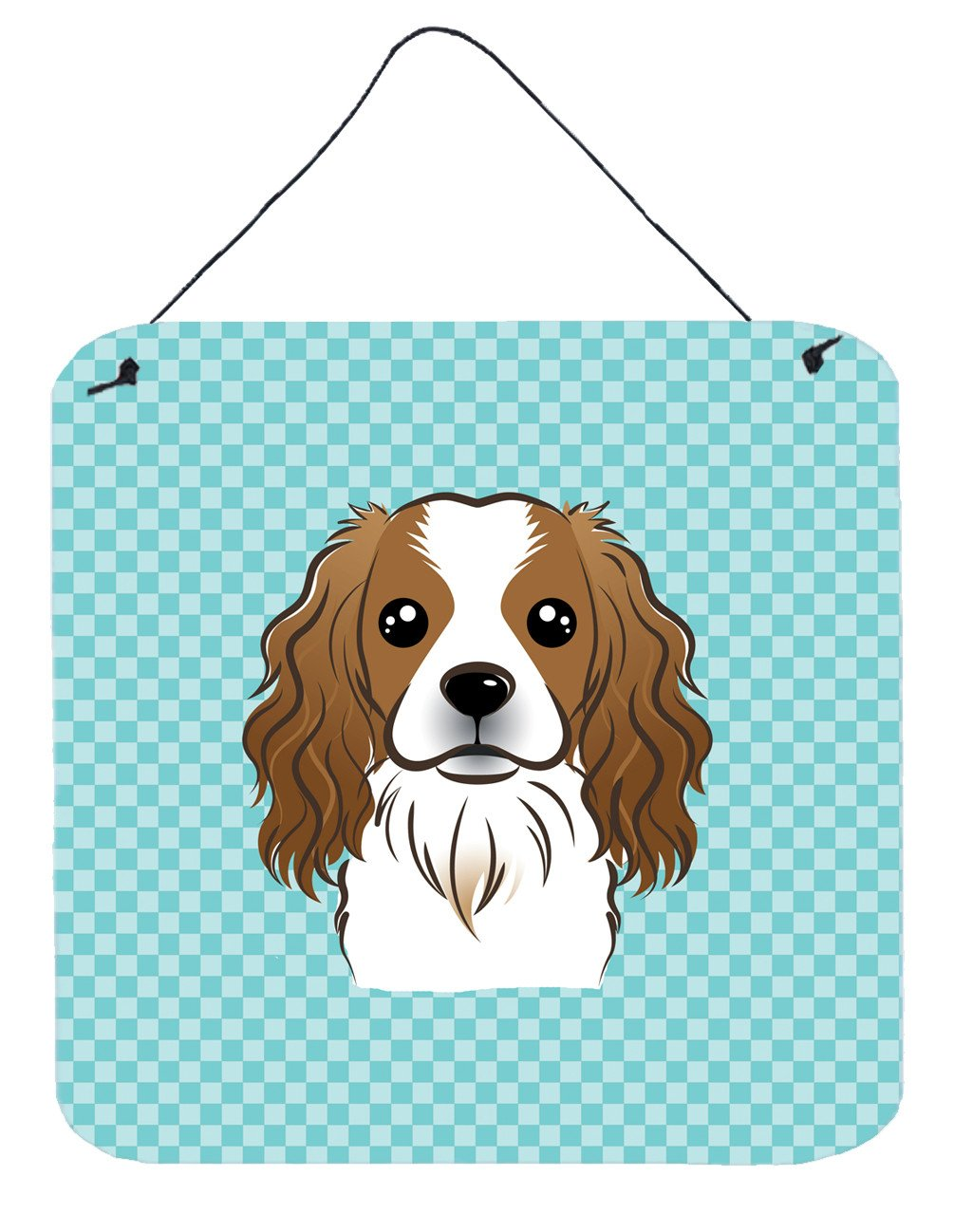 Checkerboard Blue Cavalier Spaniel Wall or Door Hanging Prints BB1162DS66 by Caroline's Treasures