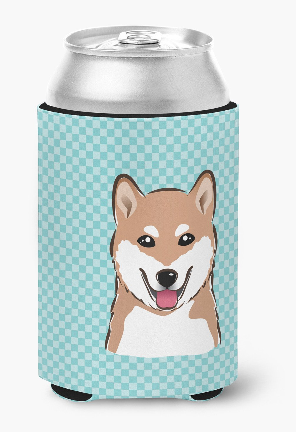 Checkerboard Blue Shiba Inu Can or Bottle Hugger BB1163CC by Caroline's Treasures